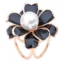1J0001-1 Зажим для платка Цветок, цвет чёрный