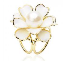 1J0001-2 Зажим для платка Цветок, цвет белый