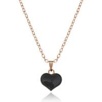 1L0002-3 Кулон Сердце, цвет чёрный
