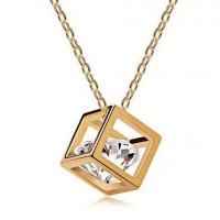 1L0007-1 Кулон Куб на цепочке, цвет золотой