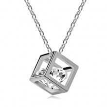 1L0007-2 Кулон Куб на цепочке, цвет серебряный