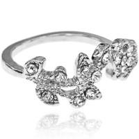 1L0014-2 Кольцо Цветок, безразмерное, цвет серебряный