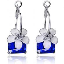 1L0017-1 Серьги Цветок, цвет синий