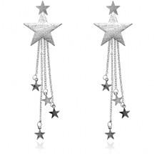 1L0024-2 Серьги-подвески Звезда, цвет серебряный