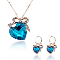 1L0053 Комлект Сердце (кулон, серьги), цвет голубой