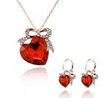 1L0054 Комлект Сердце (кулон, серьги), цвет красный