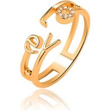 1L0069 Безразмерное кольцо LOVE со стразами, 7мм
