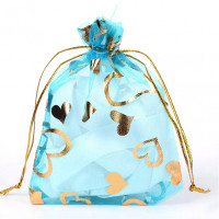 MS018-01 Мешочек из органзы Сердечки 10х12см, цвет голубой