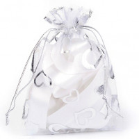 MS018-02 Мешочек из органзы Сердечки 10х12см, цвет белый