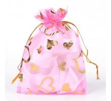 MS018-03 Мешочек из органзы Сердечки 10х12см, цвет розовый
