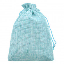 MS055-10x14 Мешочек из джута 10х14см, цвет голубой