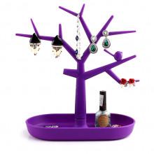 STN010-2 Подставка для бижутерии Дерево 28х28см, пластик, цвет фиолетовый