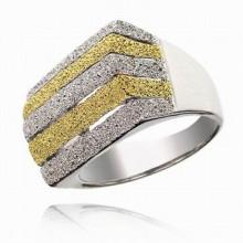 UC001-16 Кольцо, цвет серебряно-золотой, размер 16