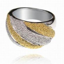 UC013-16 Кольцо, цвет серебряно-золотой, размер 16