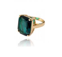 UC138-18 Кольцо с кристаллом, золотое покрытие 16К, размер 18