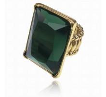 UC139-G Безразмерное стрейч-кольцо с зелёным кристаллом