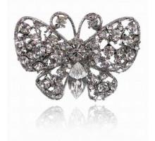 UC140-S Безразмерное кольцо Бабочка со стразами, цвет серебро