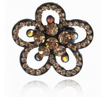UC141-B Безразмерное кольцо Цветок со стразами, цвет чёрный
