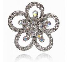 UC141-S Безразмерное кольцо Цветок со стразами, цвет серебро