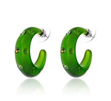 UD134-g Серьги матовые со стразами, цвет зелёный