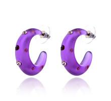 UD134-p Серьги матовые со стразами, цвет фиолетовый