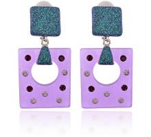UD137-p Серьги-клипсы Геометрия, цвет фиолетовый