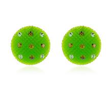 UD139-g Серьги Круг матовые, цвет зелёный
