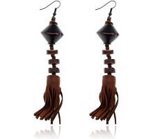 UD146 Серьги Этно, цвет коричневый