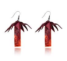 UD148 Серьги Пальма, цвет бордовый