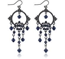UD159-b Серьги Зеркало с бусинами, цвет синий