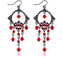 UD159-r Серьги Зеркало с бусинами, цвет красный