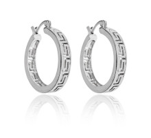 UD188 Серьги-кольца Меандр, цвет серебряный