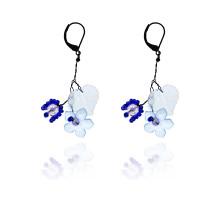 UD232-b Серьги Лист и цветок с бисером, цвет синий