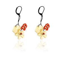 UD232-y Серьги Лист и цветок с бисером, цвет жёлтый
