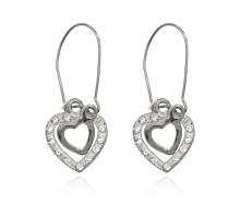 UD262-s Серьги Два сердца со стразами, цвет серебряный