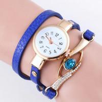 WA056-BL Часы - браслет, кожа, со стразами, цвет синий