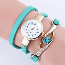 WA056-SG Часы - браслет, кожа, со стразами, цвет бирюзовый