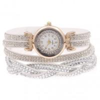 WA058-W Часы - браслет со стразами, цвет белый