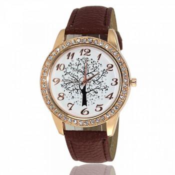WA069 Часы наручные Дерево с коричневым ремешком