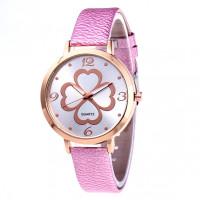 WA074-2 Часы наручные Клевер удачи с розовым ремешком
