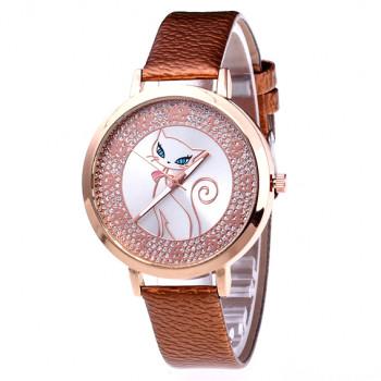 WA075-1 Часы наручные Кошка с коричневым ремешком