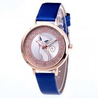 WA075-2 Часы наручные Кошка с синим ремешком