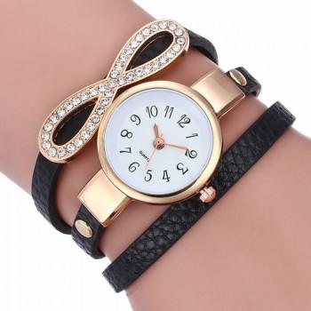 WA076-1 Часы - браслет Бесконечность с чёрным ремешком